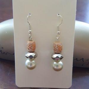 🍑 Peach & Silver //Statement Earrings